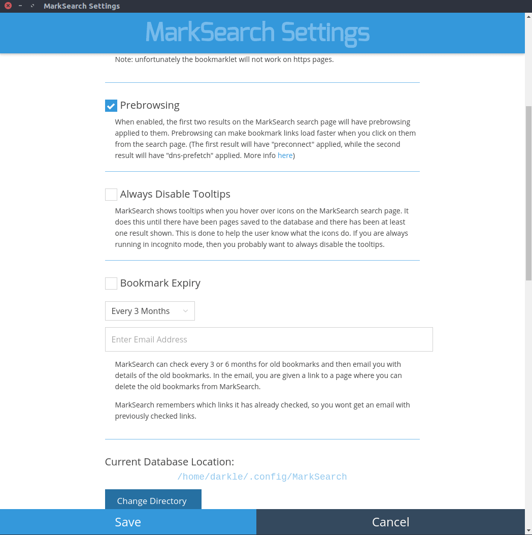 Screenshot Of MarkSearch Settings Page