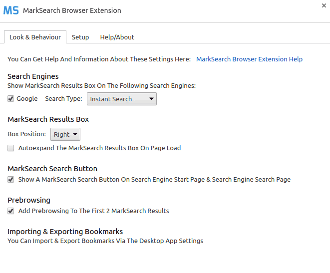Screenshot Of MarkSearch Extension Options