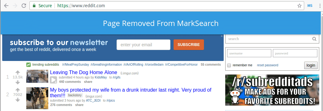 Screenshot Of MarkSearch Removed Page