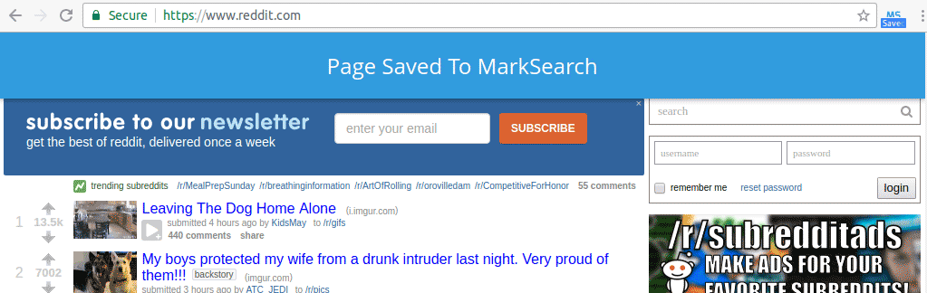 Screenshot Of MarkSearch Saved Page