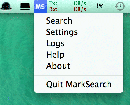 Screenshot Of MarkSearch Sitting In The System Tray On MacOS