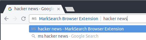 Screenshot Of MarkSearch Extension Omnibox Search